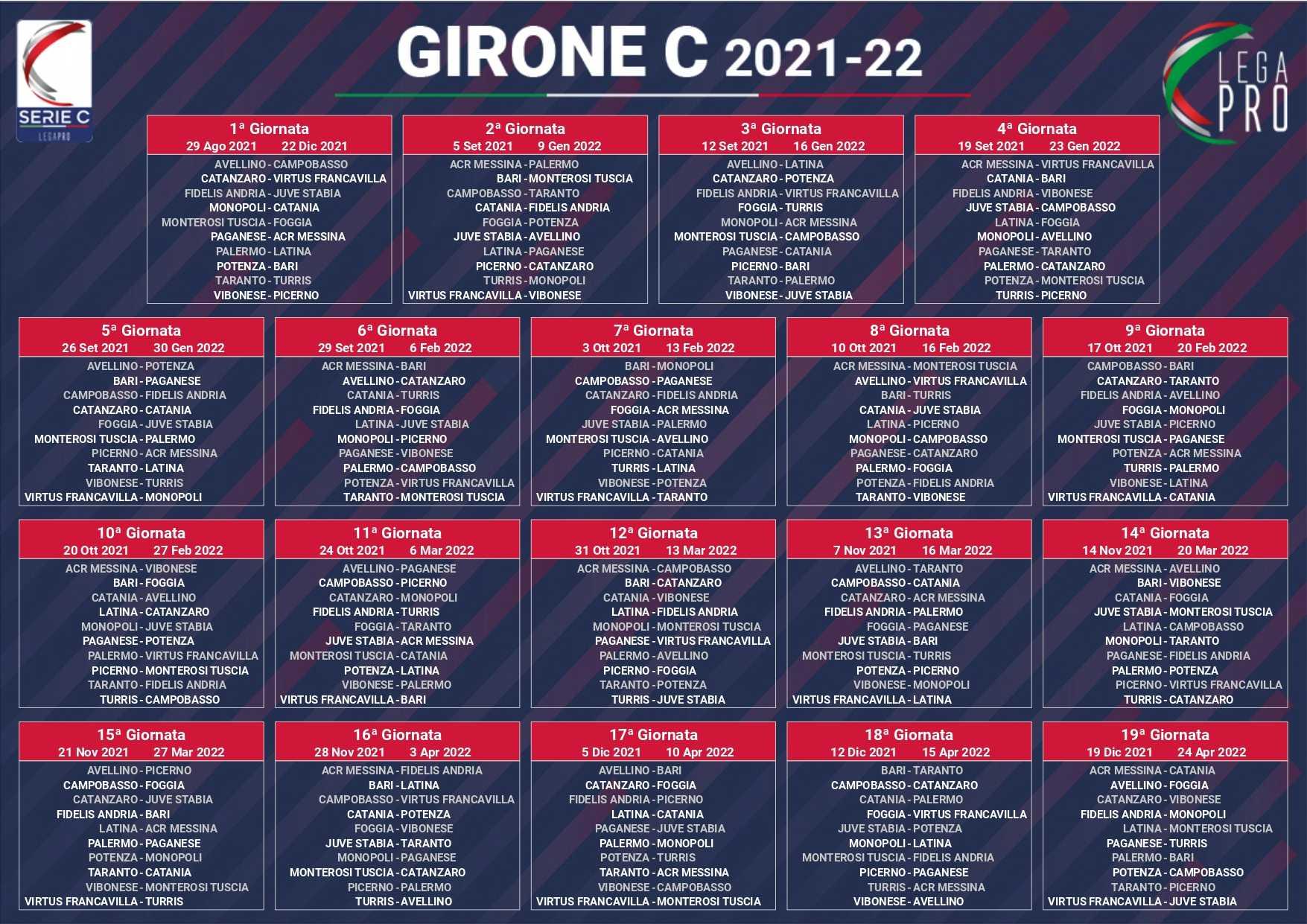 Serie C 2021/2022, sorteggiato il calendario dei tre gironi